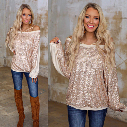 Gold Sequin Wide Neck Long Sleeve Top - The Lace Cactus
