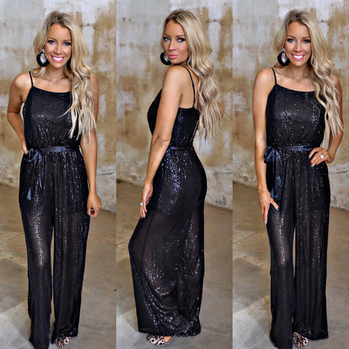 Bleacher Babes Black Sequin Jumpsuit - The Lace Cactus