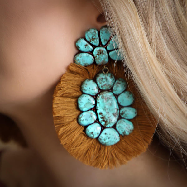 Roan Turquoise + Dark Mustard Fan Earrings