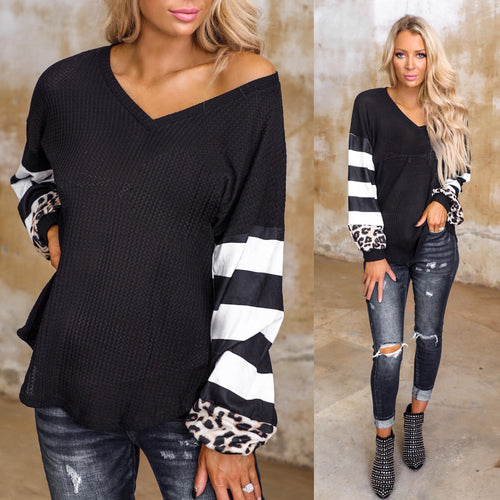 Black Waffle Knit Striped Leopard Long Sleeve Top - The Lace Cactus