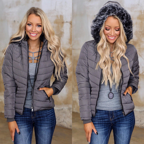 Charcoal Puff Fur Hooded Jacket