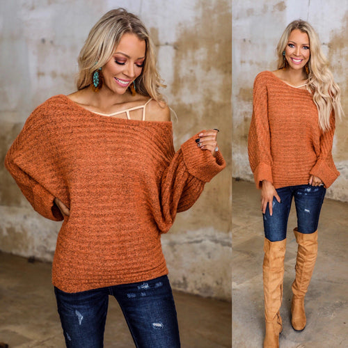 Warm Orange Boat Neck Dolman Sweater - The Lace Cactus