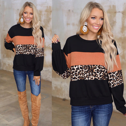 Black, Rust + Leopard Block Top