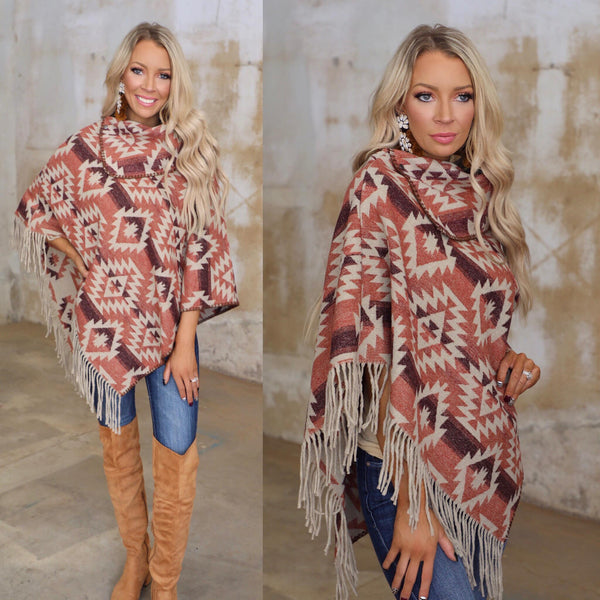 Brick + Plum Fringe Poncho - The Lace Cactus