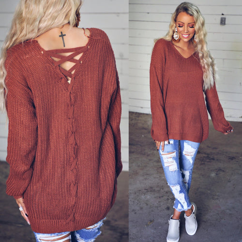 {PLUS} Deep Rust Lace-up Back Sweater