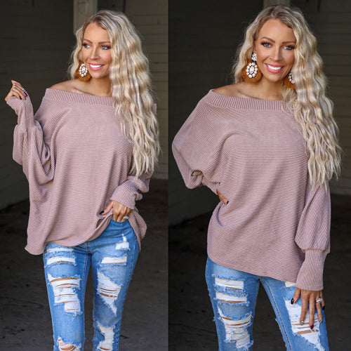 Taupe Urban Knit 2-Tone Boat Neck Dolman