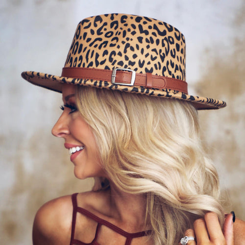 Sandy Tan Leopard Felt Hat