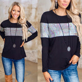The Black Sequin Stripe Long Sleeve Top - The Lace Cactus