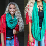 CC Sea Green Knitted Infinity Scarf - The Lace Cactus