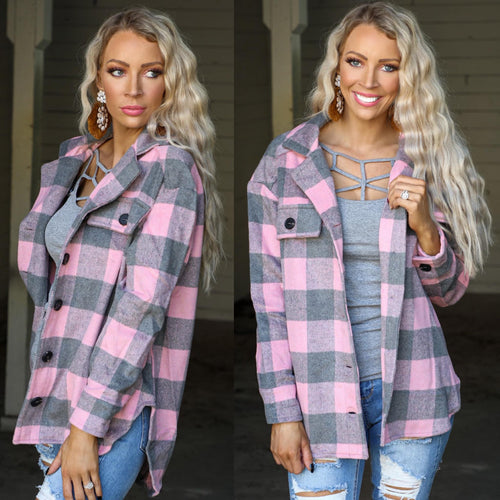 Pink + Gray Plaid Flannel Top
