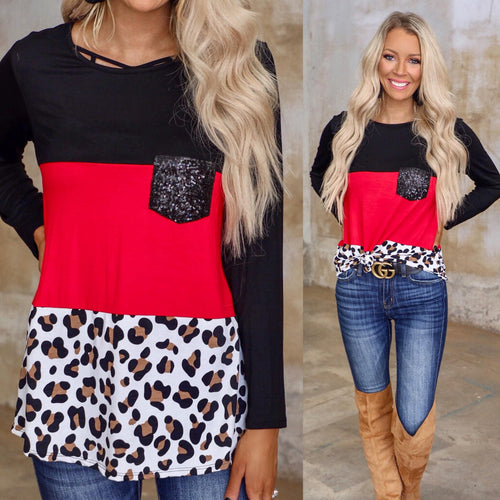 Black, Red + Leopard Sequin Pocket Block Top