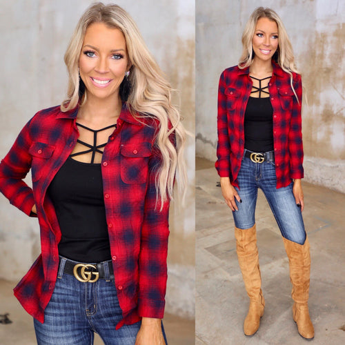 Megan Red + Navy Plaid Button-Up Top