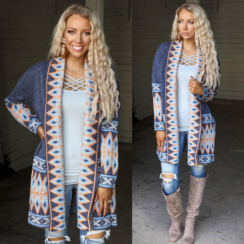 Dusty Blue + Orange Tribal Jacquard Cardigan - The Lace Cactus