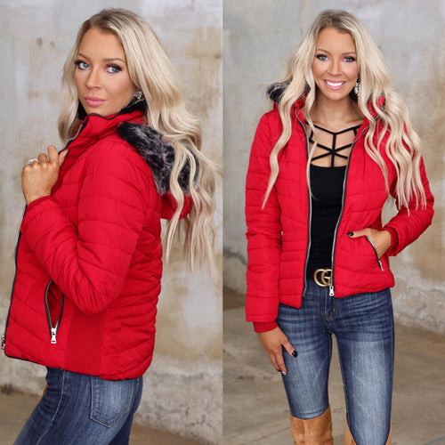 Red Puff Fur Hooded Jacket