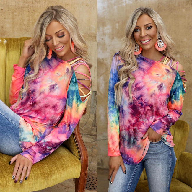 Pink Tie-Dye Burst One Shoulder Long Sleeve Top - The Lace Cactus