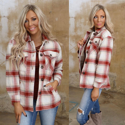 Terra Cotta Plaid Sherpa Lined Button Down Jacket - The Lace Cactus