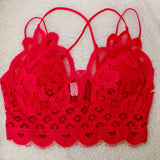 Ruby Red Scalloped Lace Bralette - The Lace Cactus