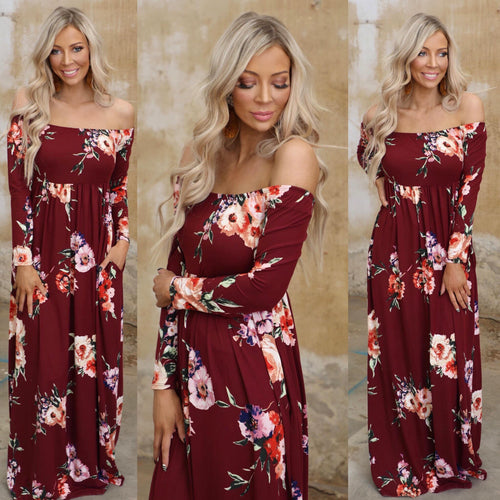 Burgundy Floral Off Shoulder Maxi Dress - The Lace Cactus