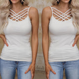 Bone Triple Crossed Strap Cami Tank Top