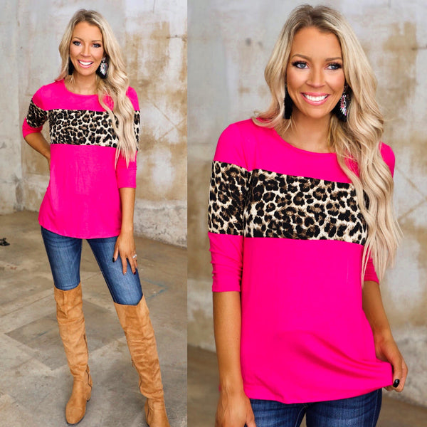 The Khloe Hot Pink + Leopard Stripe Top - The Lace Cactus