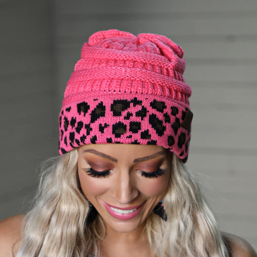 Pink Leopard Trim C.C. Beanie - The Lace Cactus