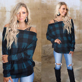 Rich Teal Plaid Boat Neck Dolmen Top