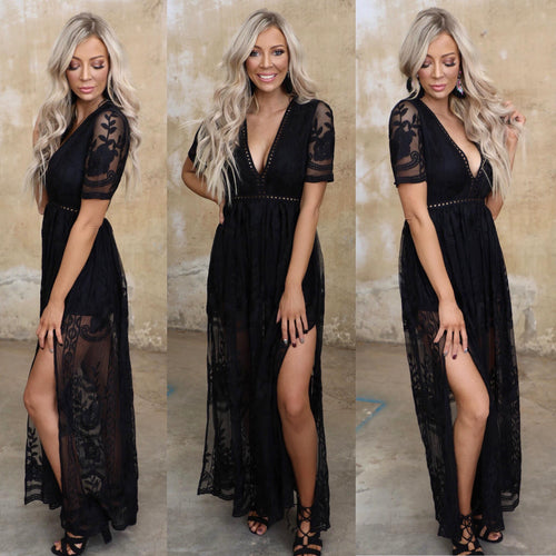 The Darling Black Lace Maxi Romper - The Lace Cactus
