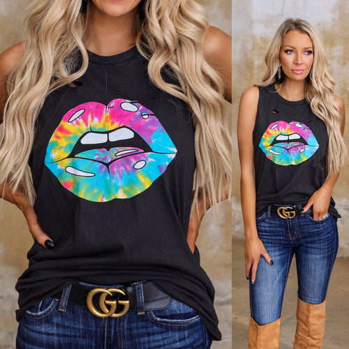 Black Tie-Dye Lips Distressed Tank Top - The Lace Cactus
