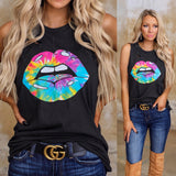 Black Tie-Dye Lips Distressed Tank Top