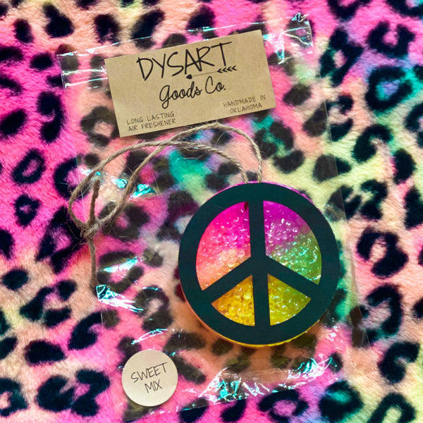 "Peace Sign Tie-Dye ""Sweet Mix"" Circle Car Freshies"