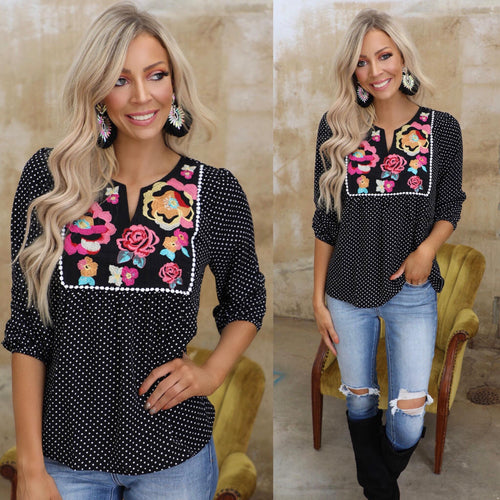SJ Floral Embroidered Black Polka Dot Top - The Lace Cactus