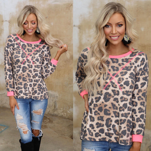 Leopard Stitched in Pink Long Sleeve