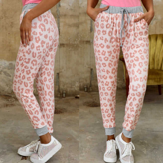 Pink Leopard + Gray  Lounge Wear Set