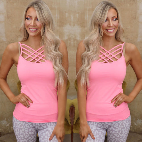 Light Pink Triple Crossed Strap Cami Tank Top