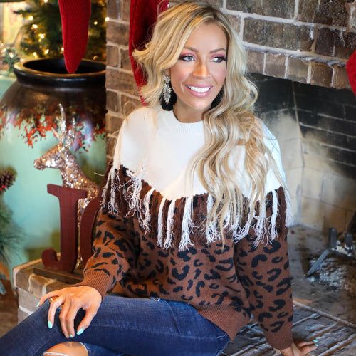 Cream + Leopard Fringe Tassel Sweater