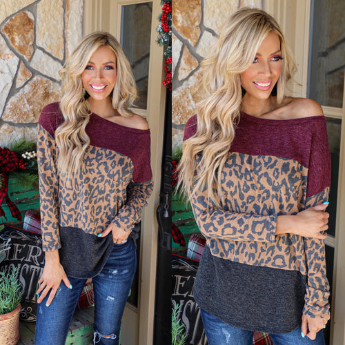 Burgundy, Leopard + Charcoal Block Top