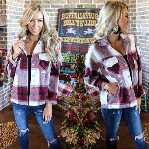 Burgundy Oversize Plaid Flannel Top - The Lace Cactus