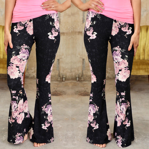 Black + Pink Floral Bell Bottoms - The Lace Cactus