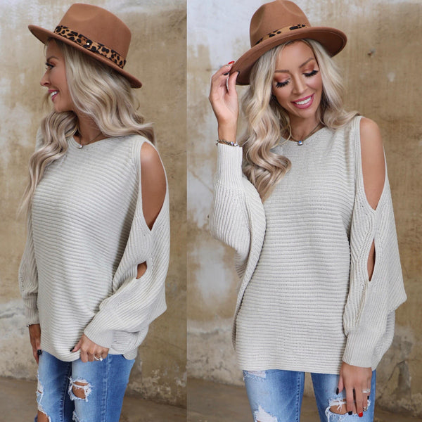 Stone Knit Double Slit Sleeve Dolman Sweater - The Lace Cactus