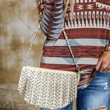 Gold Studded Fringe Crossbody Purse - The Lace Cactus