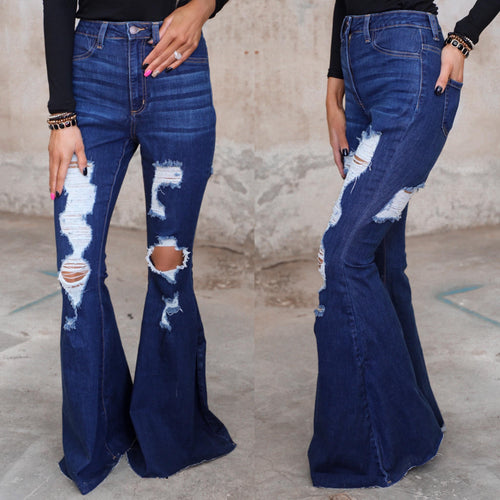 Destructed + Grooved Flare Jeans - The Lace Cactus