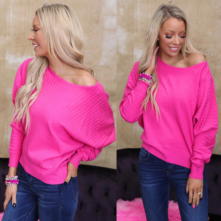 The Khloe Hot Pink + Leopard Stripe Top