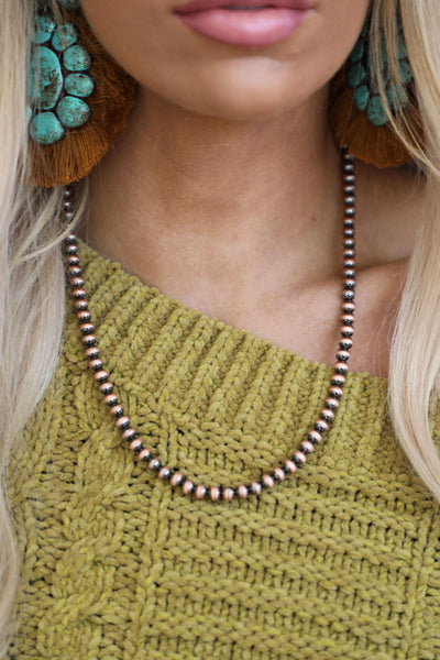 6mm Navajo Style Copper Pearl Necklace - The Lace Cactus