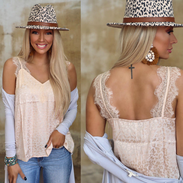 Cream Textured Leopard Lace Cami Tank Top - The Lace Cactus