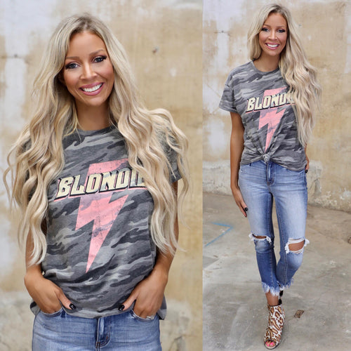 "Charcoal Camo ""Blondie"" Tee - The Lace Cactus"