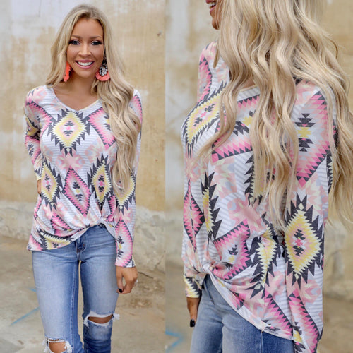 Pink + Yellow Aztec Twist Hem Top - The Lace Cactus