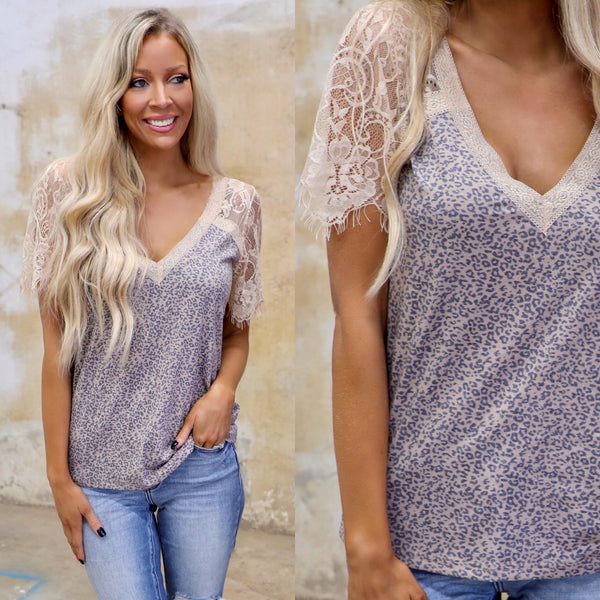Taupe Leopard Lace Raglan Tee - The Lace Cactus