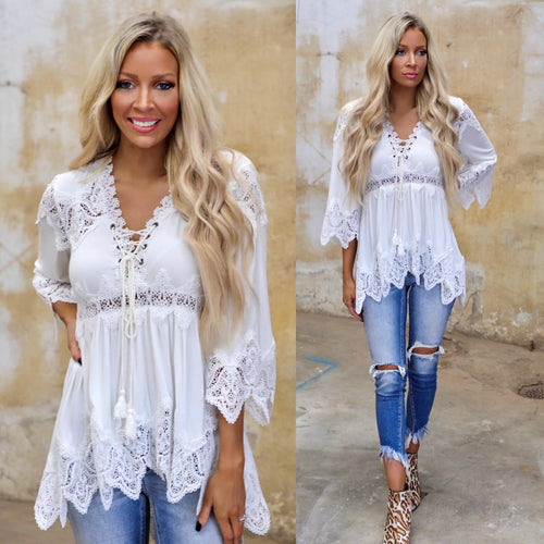 Ivory Scallop Crocheted Hi-Low Tunic - The Lace Cactus