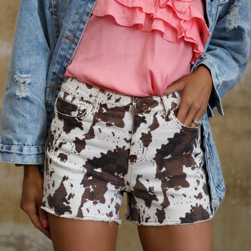 JB Bleacher Babe Cow Print Shorts - The Lace Cactus