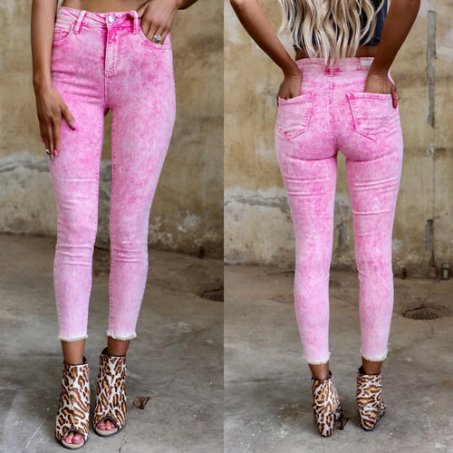Candy Pink Stonewashed Skinny Jeans - The Lace Cactus